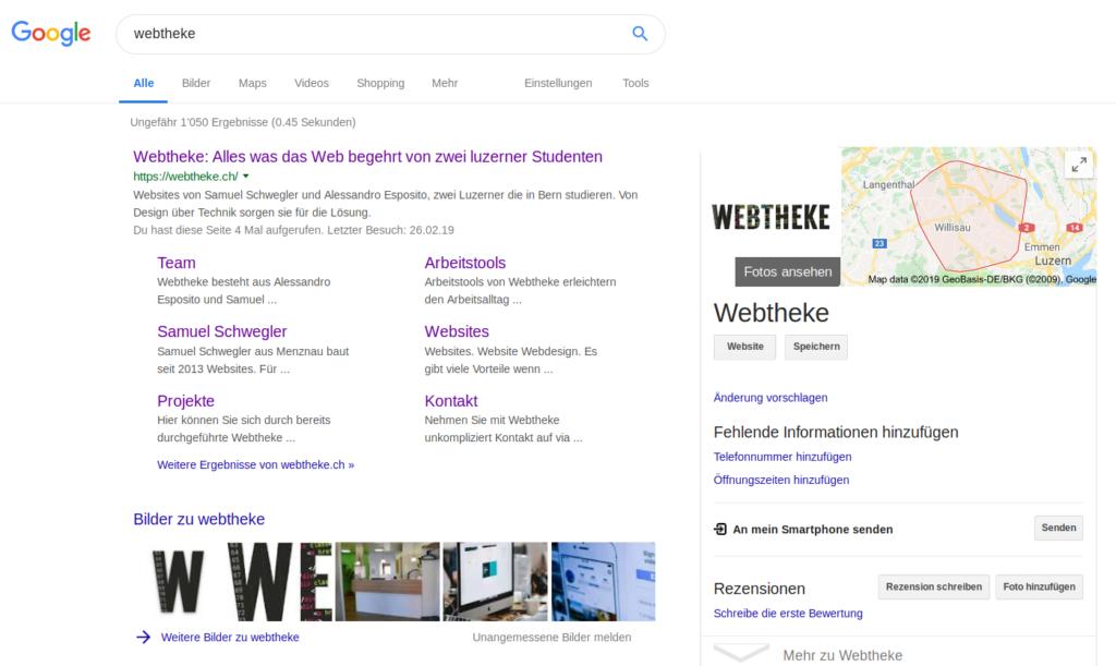 Screenshot Google Suche für Webhteke